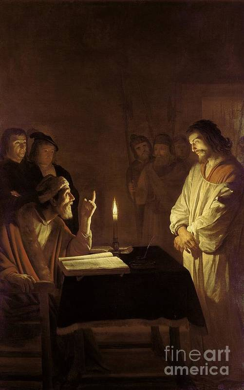 Christ Print featuring the painting Christ Before The High Priest by Gerrit van Honthorst
