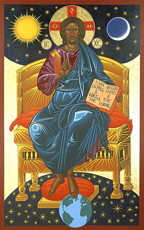 Christ Print featuring the painting Christ Enthroned Icon by Mark Dukes