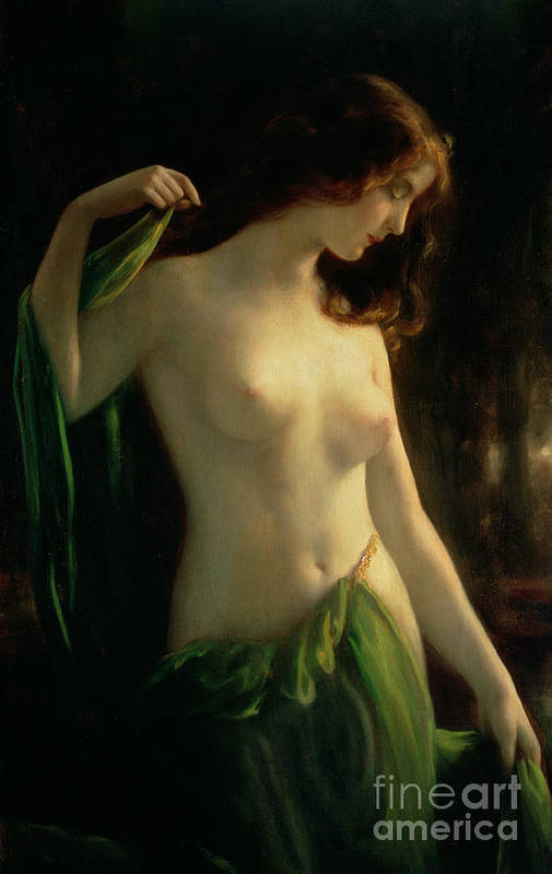 Water Nymph Print featuring the painting Water Nymph by Otto Theodor Gustav Lingner