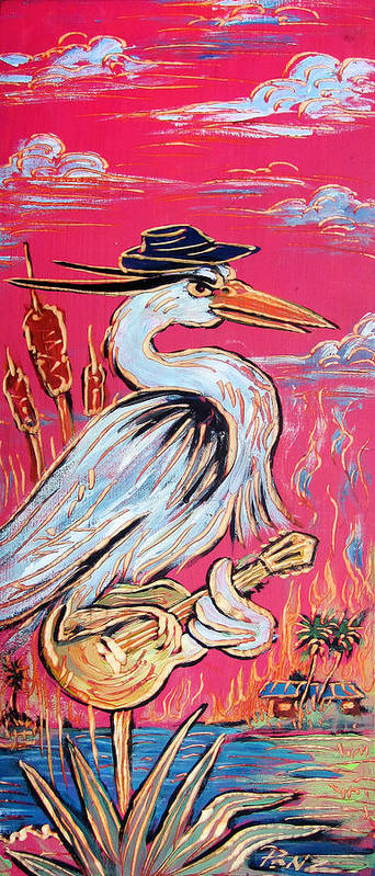 Blues Print featuring the painting Red Hot Heron Blues by Robert Ponzio