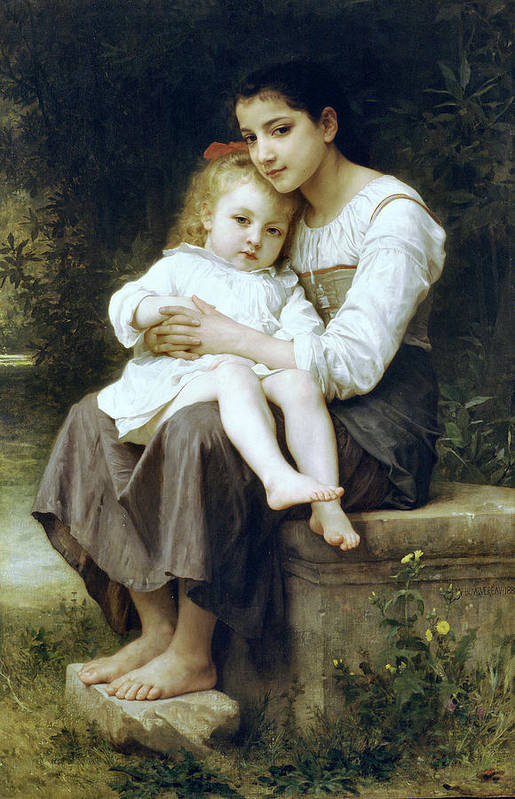 Big Sister Print featuring the digital art Big Sister by William Bouguereau