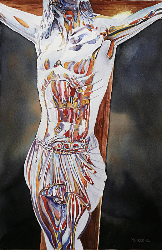 Crucifix Print featuring the painting Crucifijo En Plata by Patrick DuMouchel