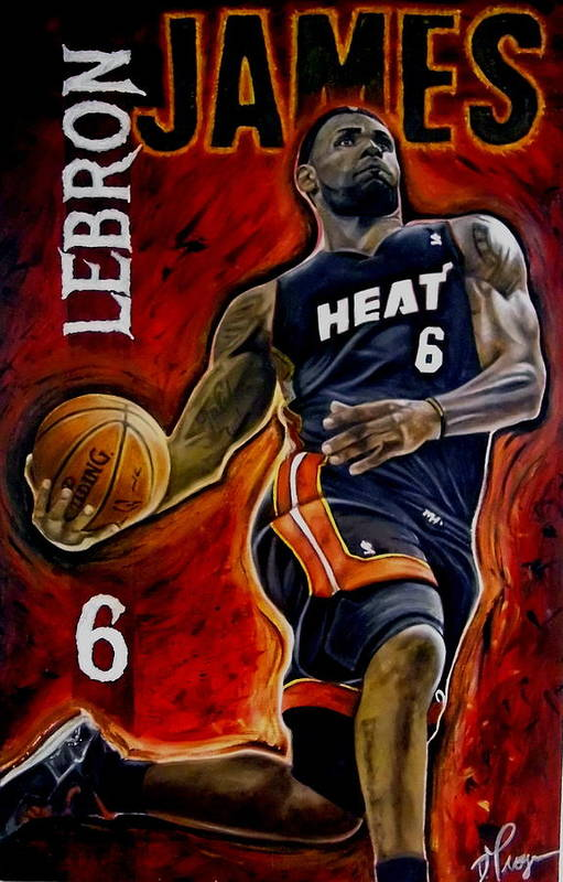 Lebron James Print featuring the painting Lebron James Oil Painting-original by Dan Troyer