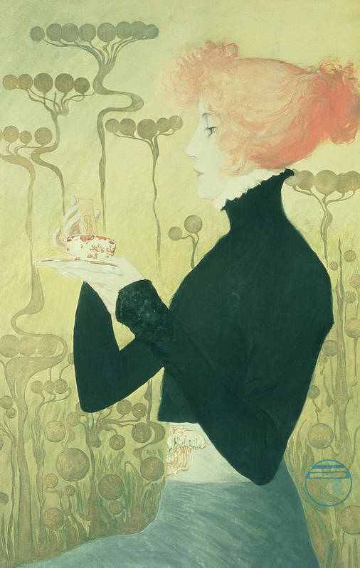 Female; Portrait; Tea; Drinking; Actress; Biscuit Print featuring the drawing Portrait Of Sarah Bernhardt by Manuel Orazi