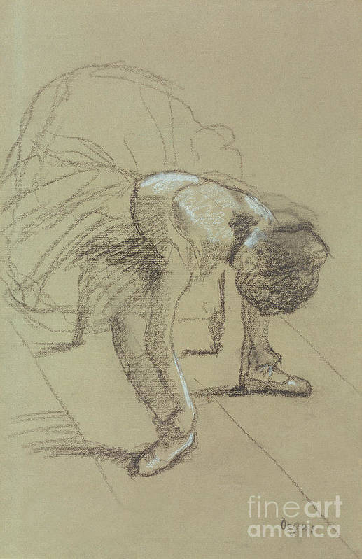 Female Print featuring the drawing Seated Dancer Adjusting Her Shoes by Edgar Degas