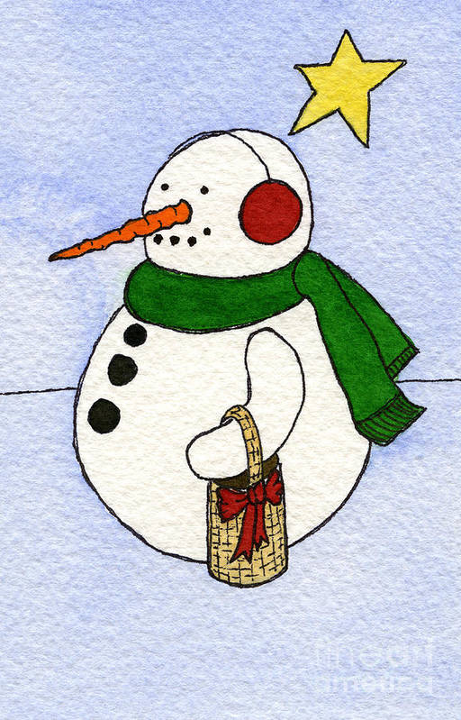 Snowman Print Print featuring the painting Snowy Man by Norma Appleton