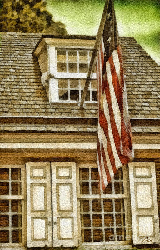 Stars And Tripes Print featuring the painting Stars And Stripes by Mo T