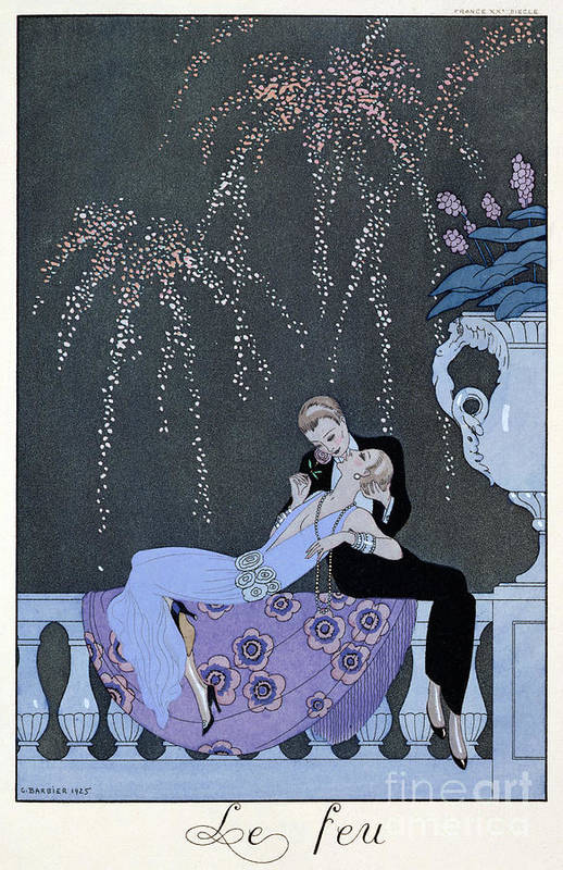 Le Feu Print featuring the painting The Fire by Georges Barbier