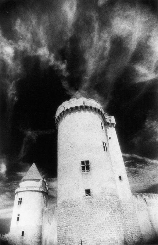 Architecture; Exterior; French; Castle; Renaissance; Tower; Towers; Fort; Fortress; Night; Dramatic; Atmospheric; Dark; Night; Stormy; Moonlit; Moonlight; Turret; Turrets; Haunted; Fairytale; Spooky; Eerie Print featuring the photograph Chateau De Blandy Les Tours by Simon Marsden