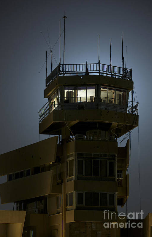 Night Print featuring the photograph Cob Speicher Control Tower by Terry Moore
