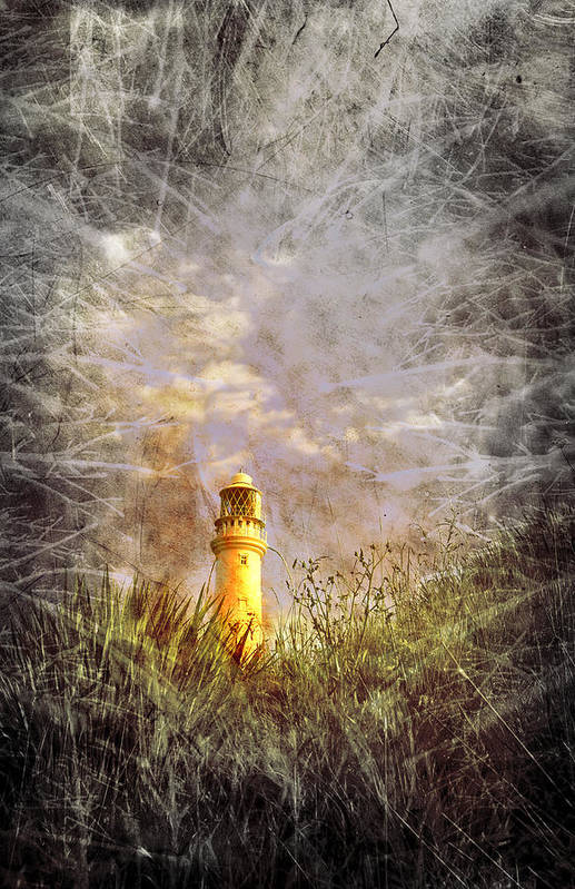 Aqua Print featuring the photograph Grunge Light House by Svetlana Sewell
