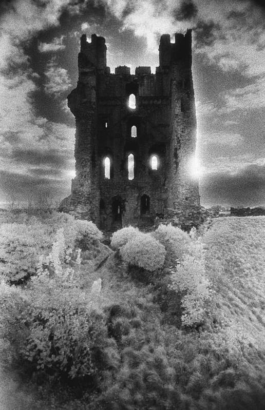 Medieval; Glowing; Sunlight Print featuring the photograph Helmsley Castle by Simon Marsden