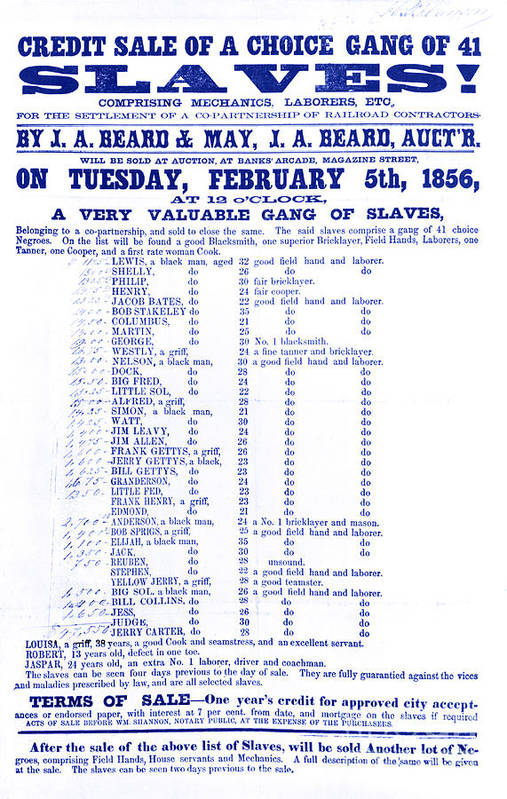 Abolition Print featuring the photograph Slave Auction Notice by Photo Researchers, Inc.