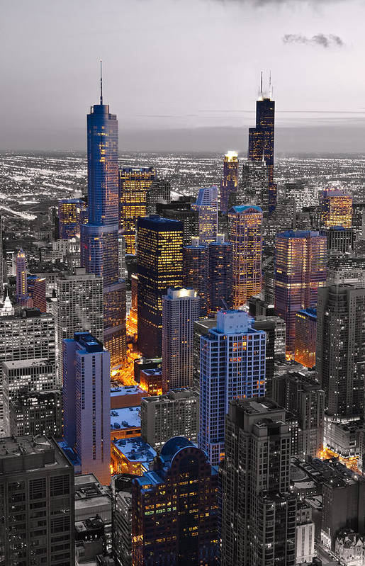 Chicago Print featuring the photograph Chicago Loop Sundown Bw Color Blend by Steve Gadomski