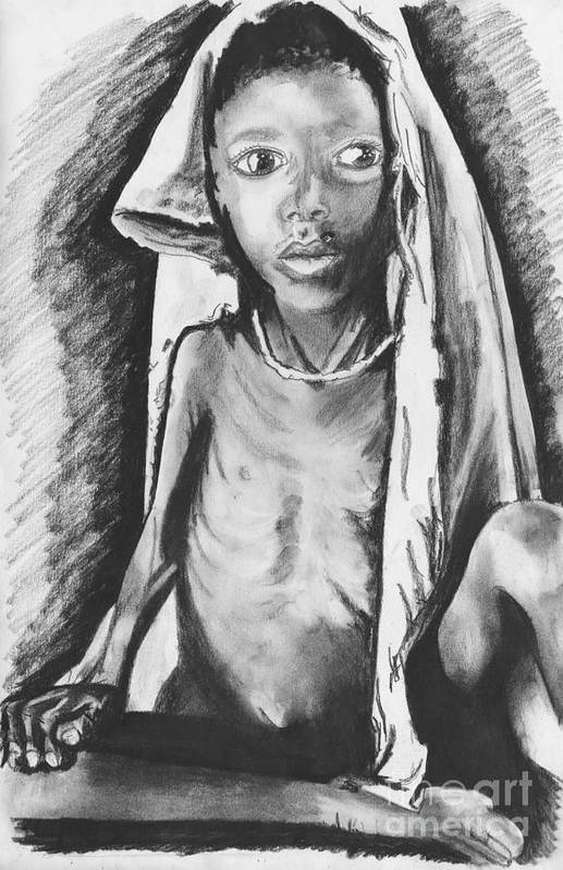 Africa Print featuring the drawing Hunger by Laura Brightwood