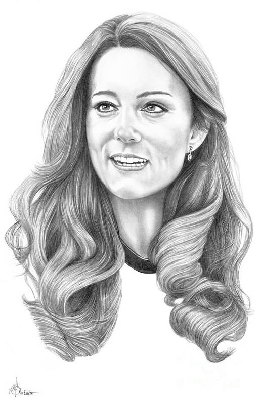 Pencil Print featuring the drawing Kate Middleton Catherine Duchess Of Cambridge by Murphy Elliott