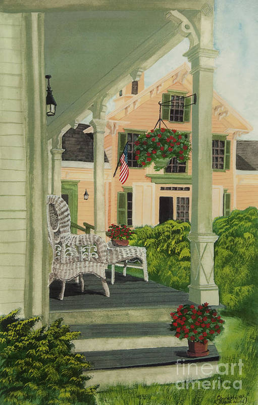 Side Porch Print featuring the painting Patriotic Country Porch by Charlotte Blanchard