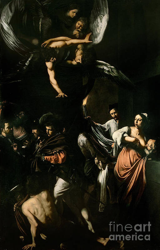 Breast Feeding; Old Man; Acts; Charity; Angel; The Seven Works Of Mercy Print featuring the painting The Seven Works Of Mercy by Caravaggio