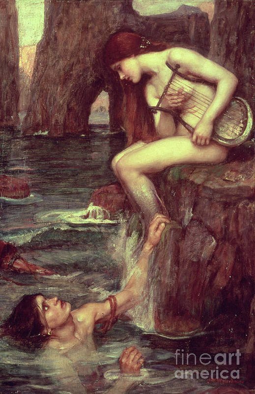 The Siren Print featuring the painting The Siren by John William Waterhouse
