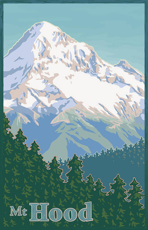 Mount Print featuring the digital art Vintage Mount Hood Travel Poster by Mitch Frey