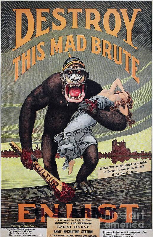 1917 Print featuring the photograph World War I: Recruitment by Granger