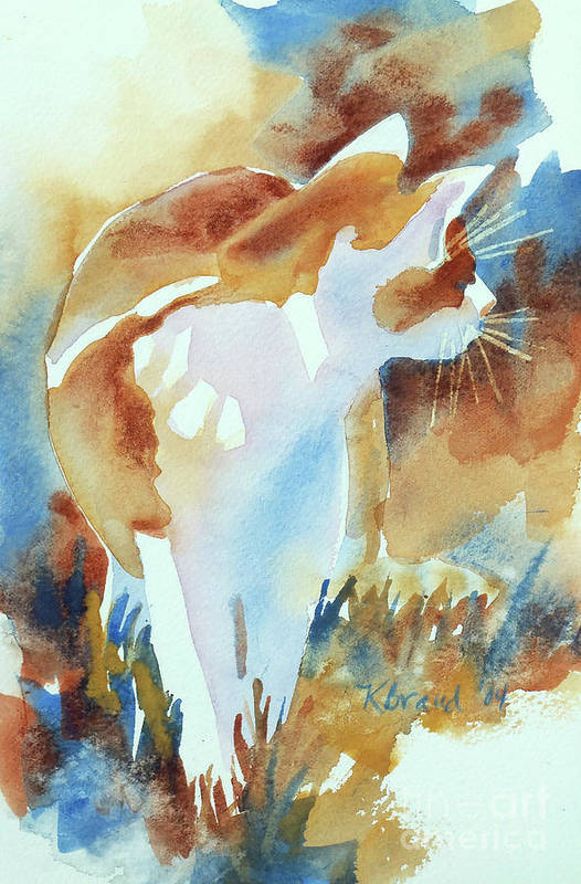 Paintings Print featuring the painting 2004 Cat On The Prowl I by Kathy Braud