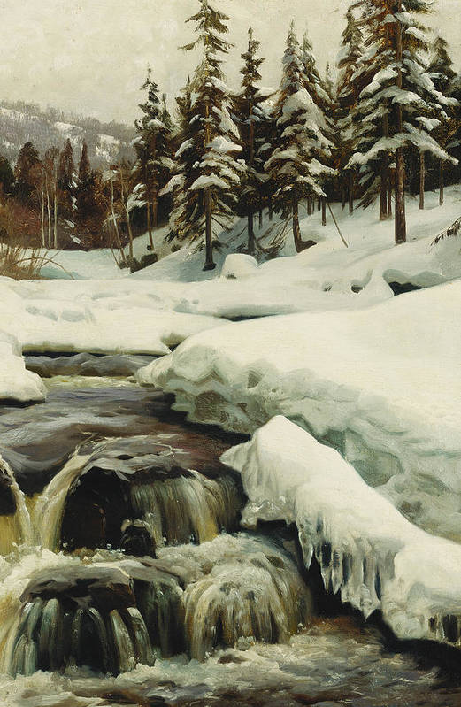 Danish Print featuring the painting A Winter Landscape With A Mountain Torrent by Peder Monsted