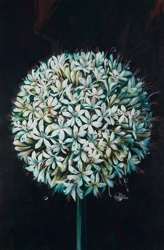 Flower Print featuring the painting Allium by Lynette Yencho