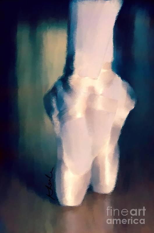 Ballet Print featuring the drawing Ballet Slippers 1 by Karen Larter