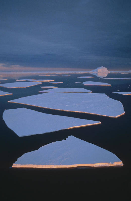 Feb0514 Print featuring the photograph Broken Fast Ice Under Midnight Sun East by Tui De Roy