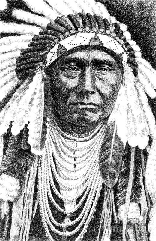 Jim Bridger Print featuring the drawing Chief-joseph by Gordon Punt