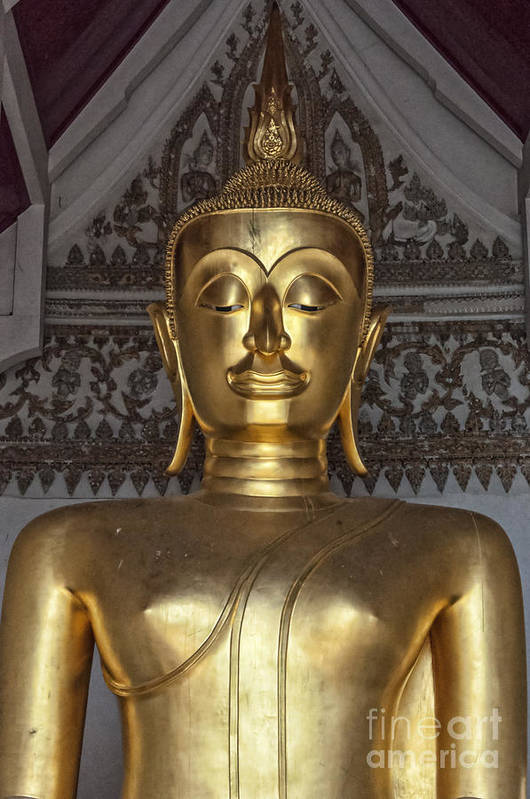 Buddhism Print featuring the photograph Golden Buddha Temple Statue by Antony McAulay