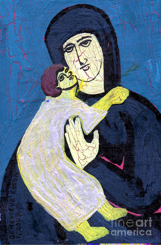 Jesus Print featuring the painting Mary And The Baby Jesus by Genevieve Esson