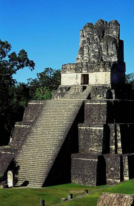 Guatemala Print featuring the photograph Mayan Ruins - Tikal Guatemala by Juergen Weiss