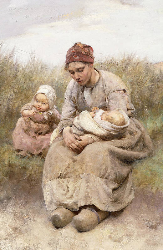 Adult; Apparel; Artwork; Baby; Child; Clothing; Country; Depressed; Difficulty; Dress; Family; Female; Fine Art; Full-length; Kid; Late Nineteenth Century; Mcgregor; Mom; Oil On Canvas; Painting; Parent; People; Poor; Posture; Road; Robert Mcgregor; Roadside; Rural; Sand Dune; Seated; Third Class; Toddler; Unhappy; Women; Youth; Print featuring the painting Mother And Child by Robert McGregor