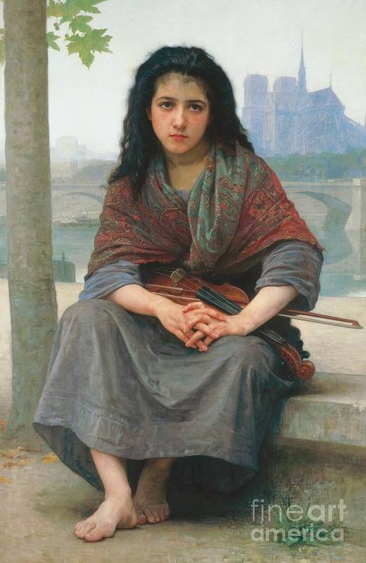 Bohemian; Female; Young; Girl; Urchin; Poor; Poverty; Impoverished; Pathos; Music; Musician; Fiddle; Fiddler; Violin; Violinist; Sympathy; Stringed Instrument; Musical Instrument; Barefoot; Bare Feet; Seine; River; Riverbank; Bridge; Ile De La Cite; Notre Dame; France; French; Paris; Parisian; Street Scene; Shawl; Gypsy; Child; Emotions; Eastern European Print featuring the painting The Bohemian by William Adolphe Bouguereau