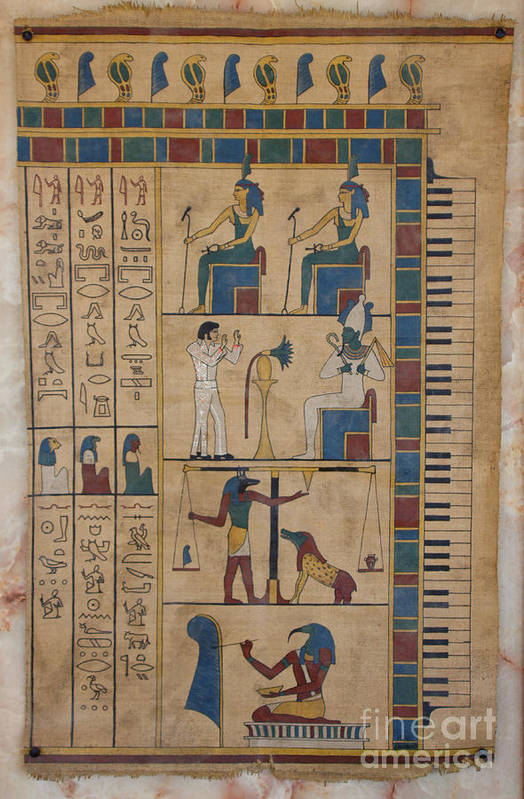 Egypt Print featuring the painting The Graceland Papyrus by Richard Deurer