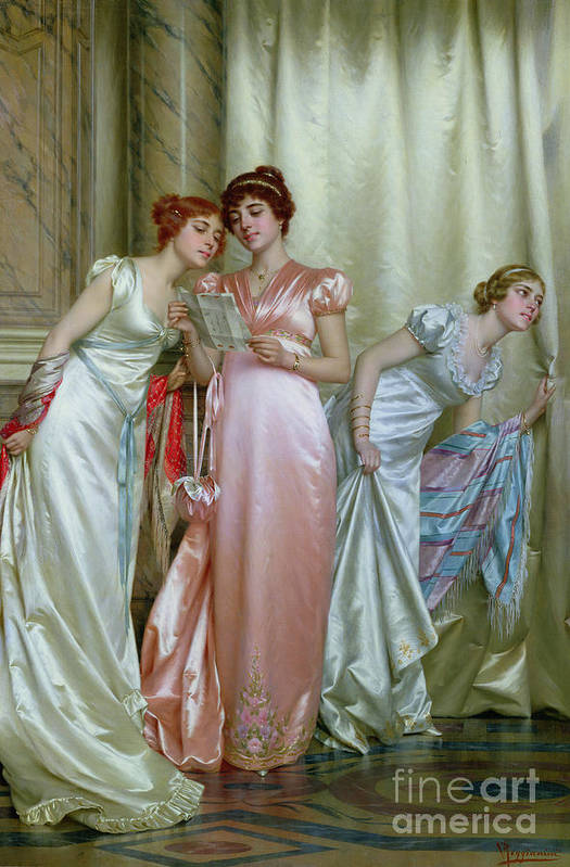 Three Print featuring the painting The Letter by Vittorio Reggianini