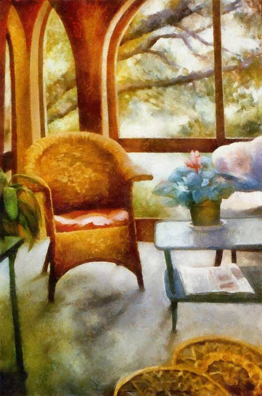 Interior Print featuring the painting Wicker Chair And Cyclamen by Michelle Calkins
