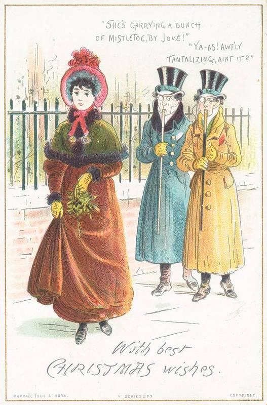 Greetings Print featuring the painting Woman Carrying Bunch Of Mistletoe by English School