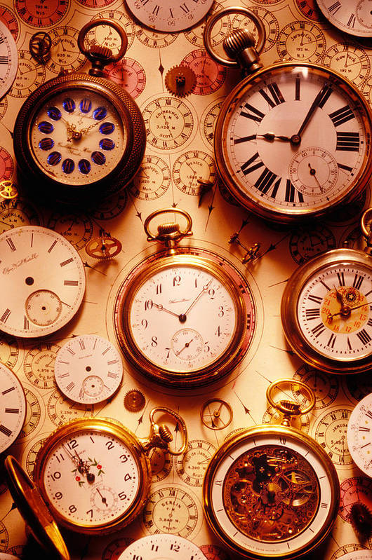 Time Print featuring the photograph Assorted Watches On Time Chart by Garry Gay