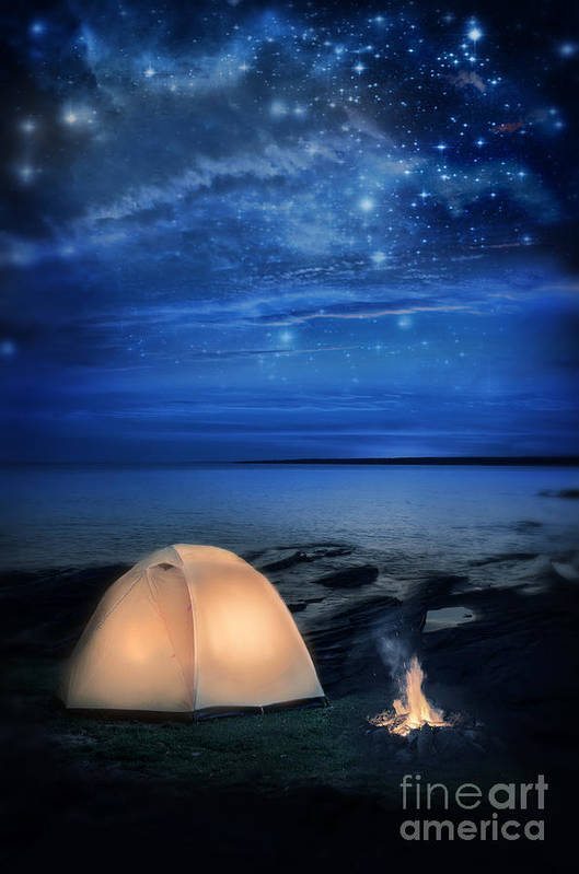 Camp Print featuring the photograph Camping Tent By The Lake At Night by Jill Battaglia