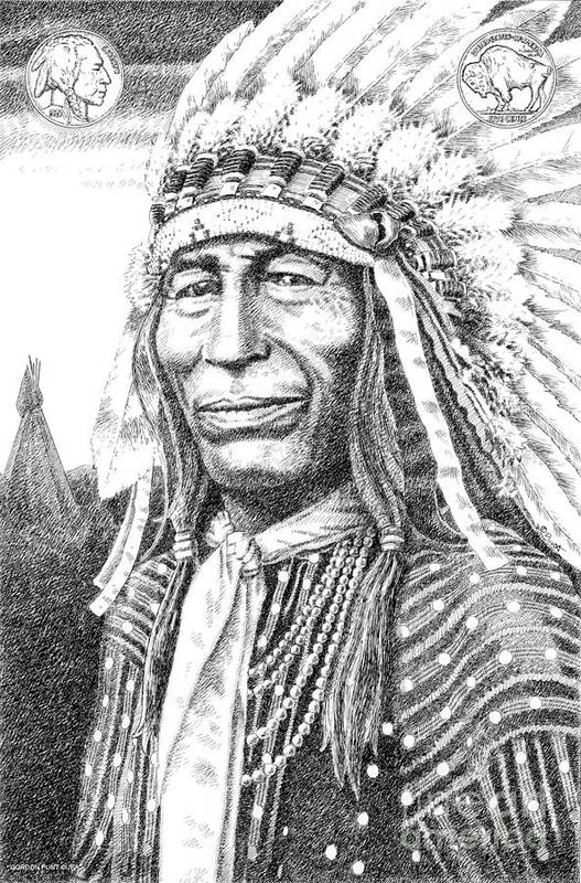 Jim Bridger Print featuring the drawing Chief-iron-tail by Gordon Punt