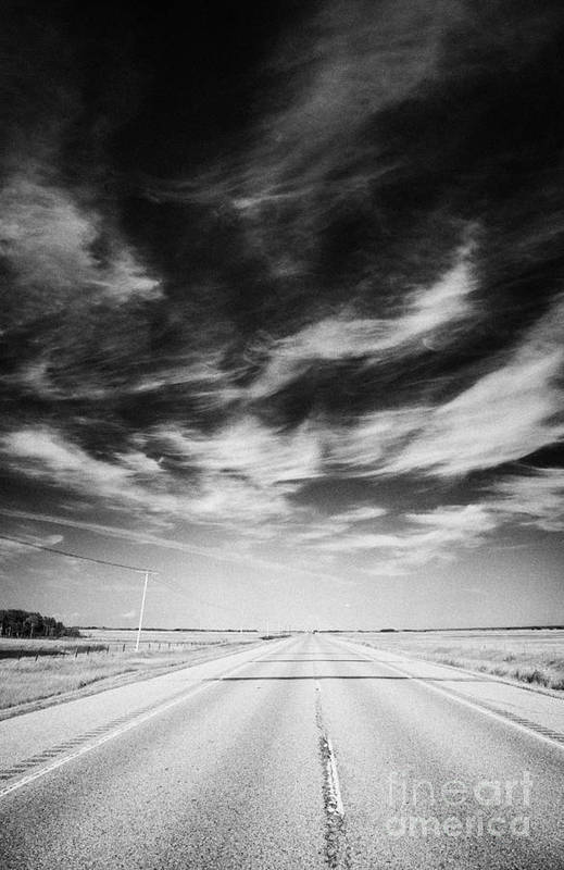 Trans Print featuring the photograph Highway Through Land Of The Living Skies Saskatchewan Canada by Joe Fox