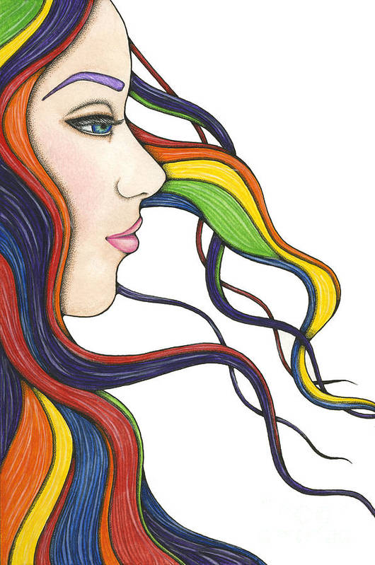 Portrait Print featuring the painting I Am My Own Rainbow by Nora Blansett