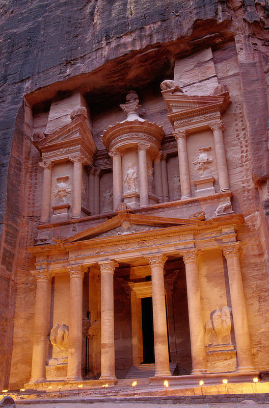 Vertical Print featuring the photograph Jordan, Petra, The Treasury by Nevada Wier