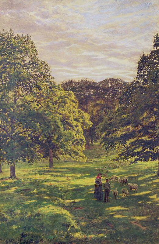 Woods; Shadows; Trees Print featuring the painting Meadow Scene by John William Buxton Knight