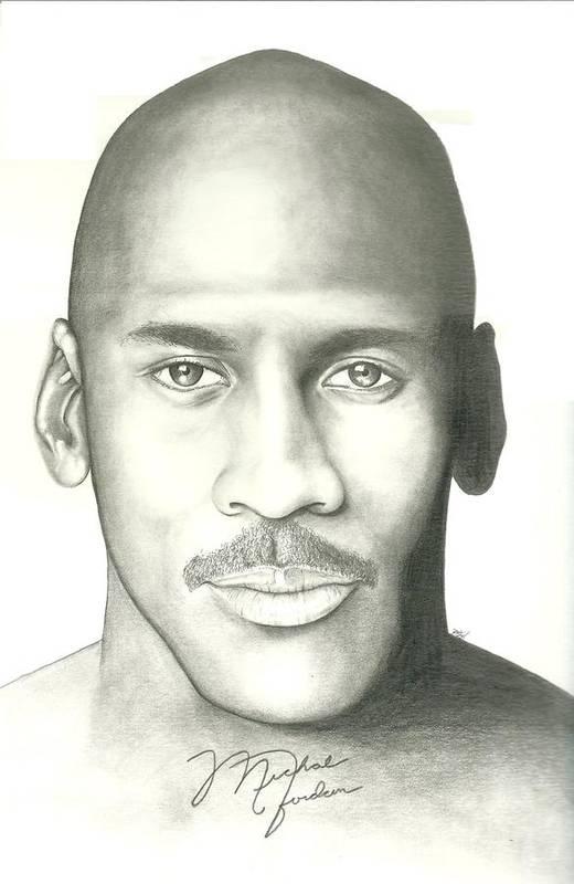 Michael Jordan Print featuring the drawing Michael Jordan by Scott Williams
