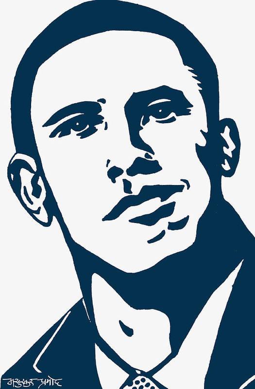 Barrack Obama Print featuring the drawing Obama by Pramod Masurkar
