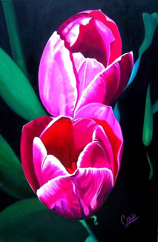 Tulips Print featuring the painting Tulips by Karen Casciani